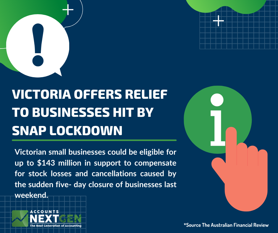 Victoria offers relief to businesses hit by snap lockdown